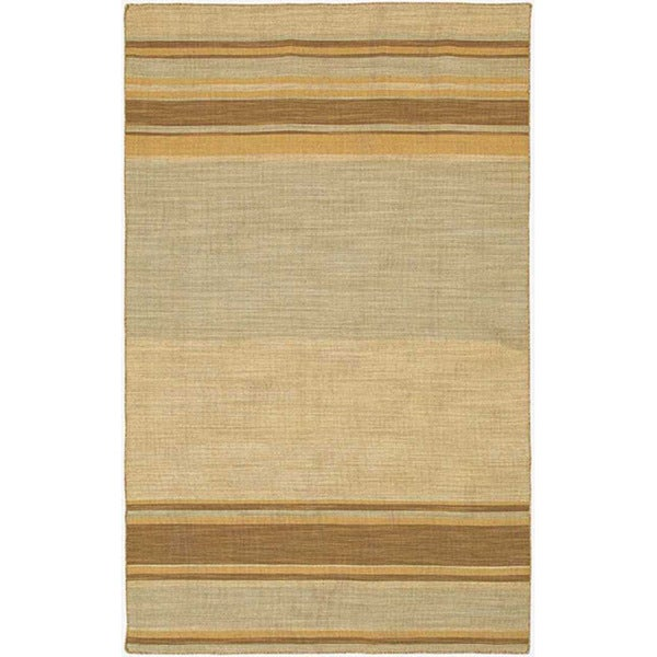 Green Flat Weave Rug: Flat Weave Green/ Blue Striped Wool Rug (8' X 10')