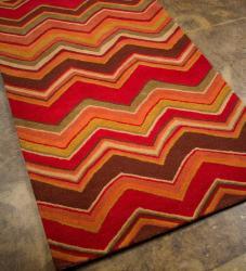 Hand-tufted Red/ Brown Geometric Wool Rug (8' x 11') - Thumbnail 1