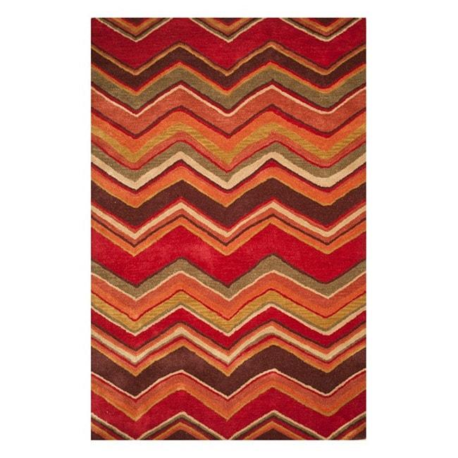Hand-tufted Red/ Brown Geometric Wool Rug (8' x 11')