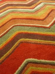 Hand-tufted Red/ Brown Geometric Wool Rug (3'6 x 5'6)