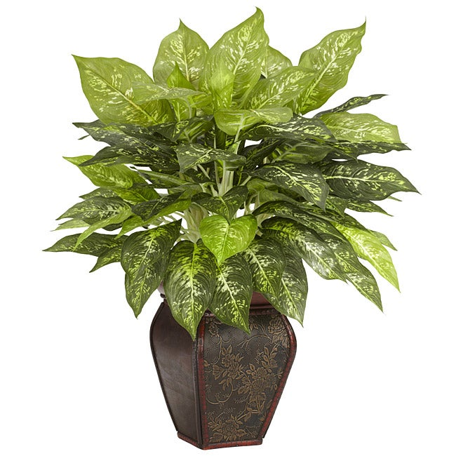 Dieffenbachia With Decorative Vase Polyester Plant Free