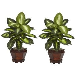 Dieffenbachia with Wood Vase Polyester Plant (Set of 2) - Thumbnail 1
