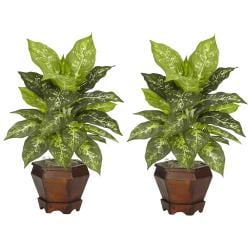 Dieffenbachia with Wood Vase Polyester Plant (Set of 2) - Thumbnail 2