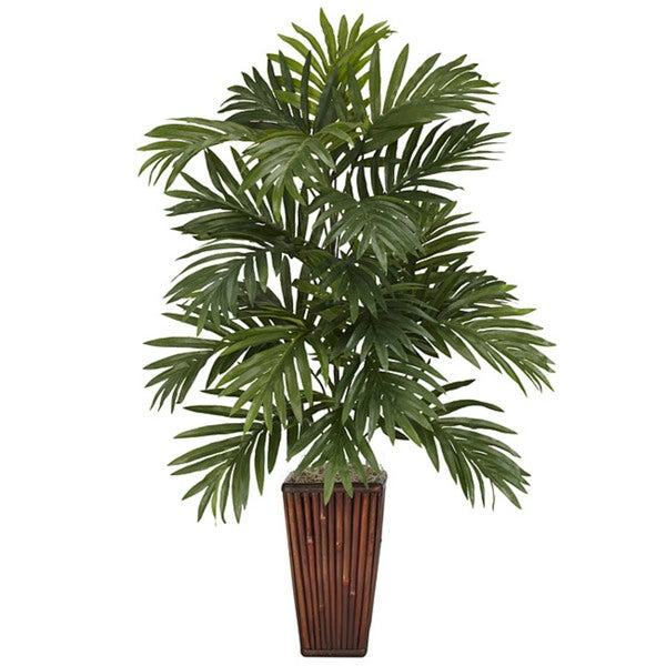 Shop Areca Palm With Bamboo Vase Polyester Plant Free