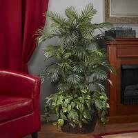 Deluxe 4.5-foot Double Areca Vase and Pothos