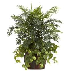 Double 3.5-foot Areca Palm with Vase and Pothos Polyester Plant - Thumbnail 1