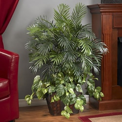 Double 3.5-foot Areca Palm with Vase and Pothos Polyester Plant - Thumbnail 0