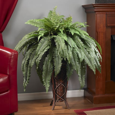 Boston Fern with Stand Silk Plant - Multicolor