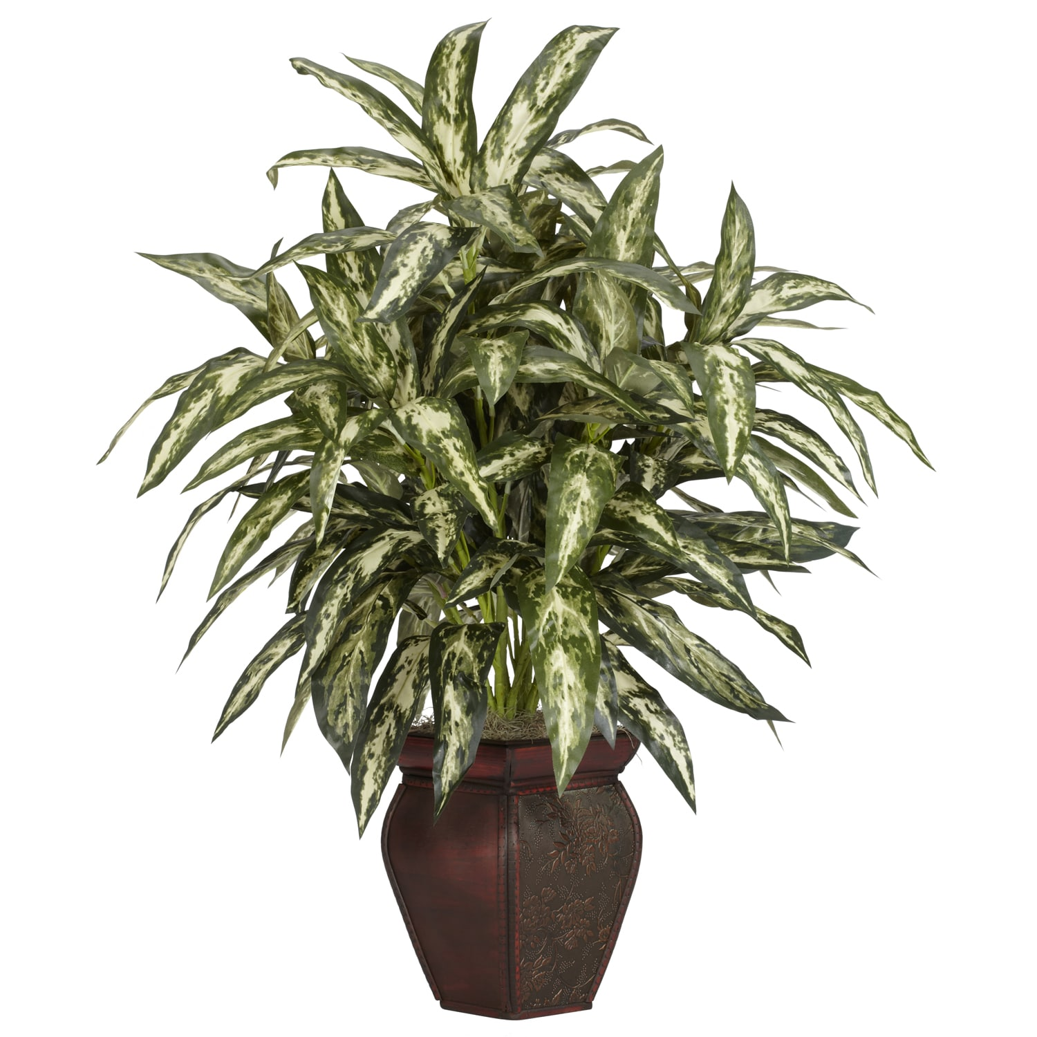 Aglaonema with Decortaive Vase Silk Plant