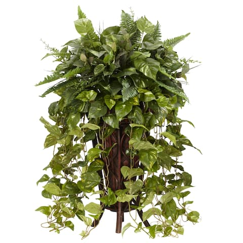 Vining Mixed Greens with Decorative Stand Silk Plant - Green