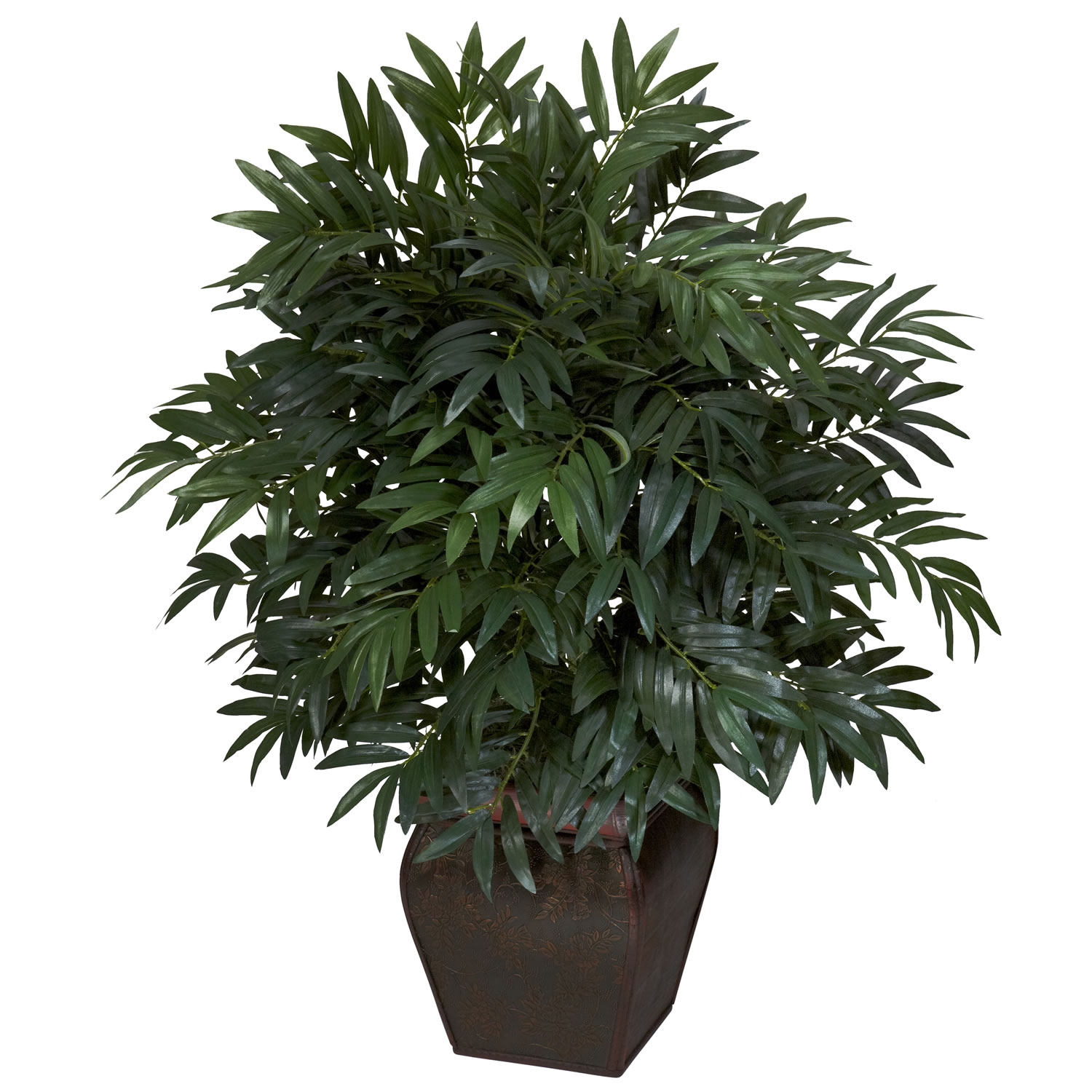 Double bamboo palm with decorative planter silk plant for Artificial plants for decoration