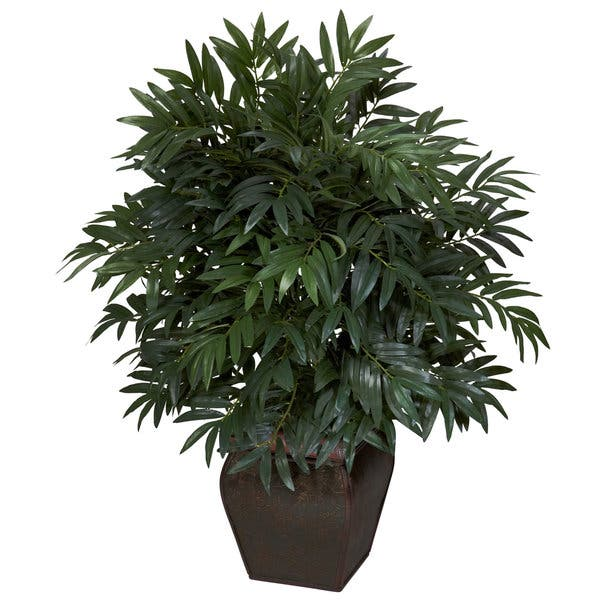 Double Bamboo Palm With Decorative Planter Silk Plant
