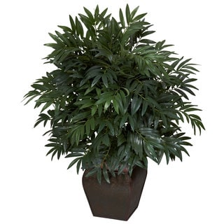 Double Bamboo Palm with Decorative Planter Silk Plant - Thumbnail 0