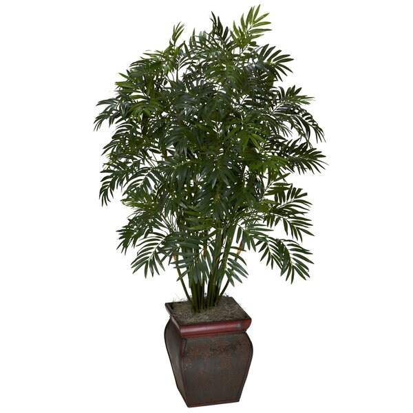 Mini Bamboo Palm w/ Decorative Vase Silk Plant