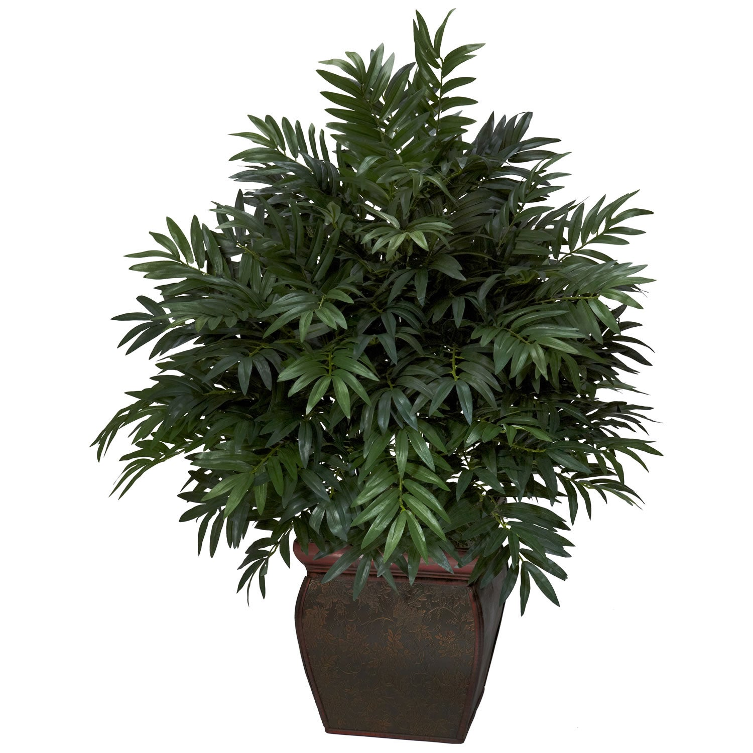 Triple bamboo palm w decorative planter silk plant free for Decoration plants