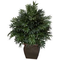 Triple Bamboo Palm w/ Decorative Planter Silk Plant