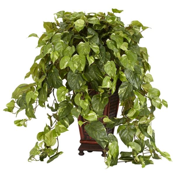 Vining Pothos with Decorative Vase Silk Plant