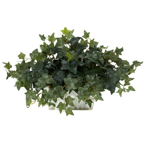 Ivy with White Wash Planter Silk Plant