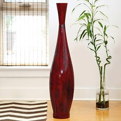 PoliVaz Red Bamboo Large Decorative Vase (Indonesia)