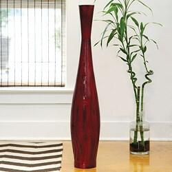 PoliVaz Red Bamboo Medium Decorative Vase (Indonesia)