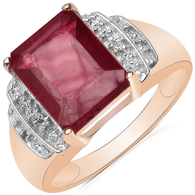Malaika 4.00ctw 14K Rose Gold Overlay Silver Ruby & Topaz Ring