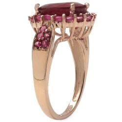 Malaika 5.80ctw 14K Rose Gold Overlay Silver Ruby Ring - Thumbnail 1