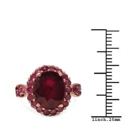 Malaika 5.80ctw 14K Rose Gold Overlay Silver Ruby Ring - Thumbnail 2