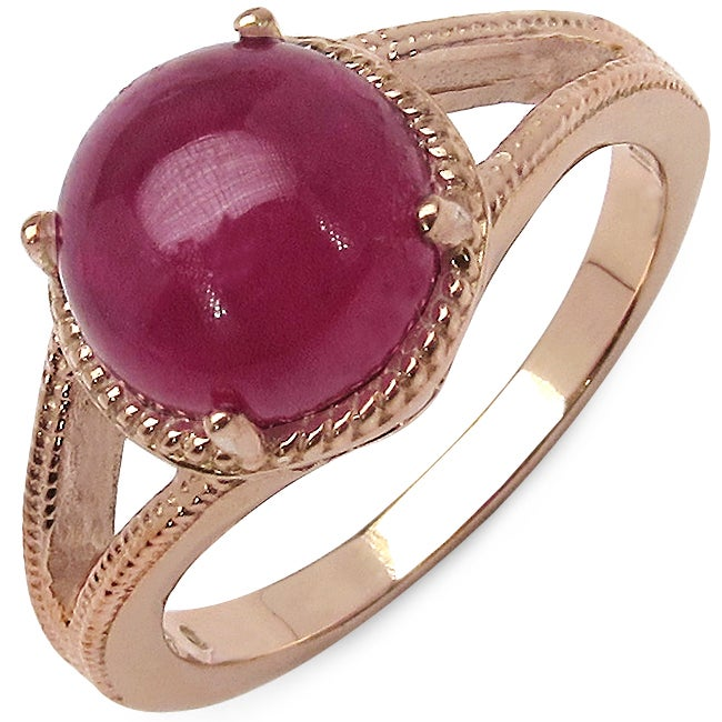 Malaika 3.60ctw 14K Rose Gold Overlay Silver Ruby Ring