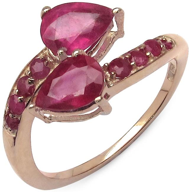 Malaika 2.00ctw 14K Rose Gold Overlay Silver Ruby Ring
