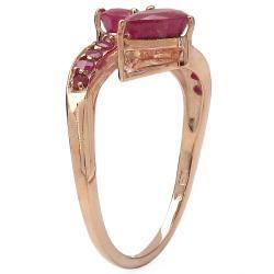 Malaika 2.00ctw 14K Rose Gold Overlay Silver Ruby Ring - Thumbnail 1