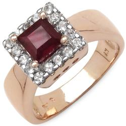 Malaika 1.40ctw 14K Rose Gold Overlay Silver Ruby & Topaz Ring