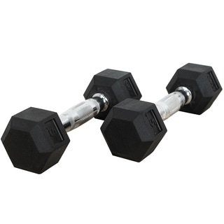 Valor Fitness 5 lb Black Rubber Hex Dumbbells (Set of 2)
