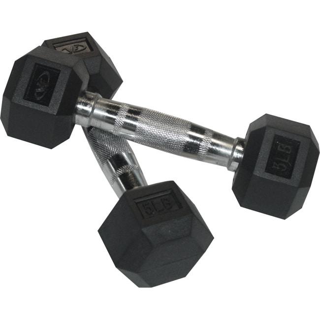 Valor Fitness 5 lb Black Rubber Hex Dumbbells (Set of 2)