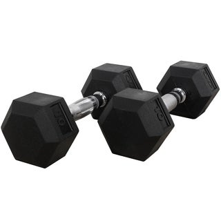Valor Fitness 10 lb Black Rubber Hex Dumbbells (Set of 2)