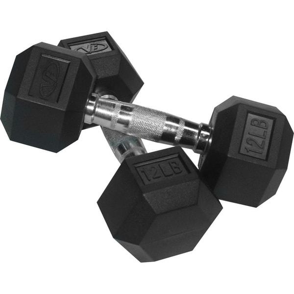 Valor Fitness 12 lb Black Rubber Hex Dumbbells (Set of 2)