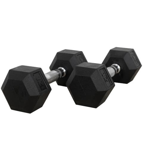 Valor Fitness RH-12 Rubber Hex Dumbbells for Strengthening and Toning Muscles- 12lb (Pair)
