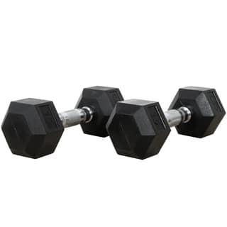 Valor Fitness 15 lb Black Rubber Hex Dumbbells (Set of 2)|https://ak1.ostkcdn.com/images/products/6274910/P13910169.jpg?impolicy=medium