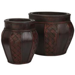 Wood and Weave Panel Decorative Planter (Set of 2)