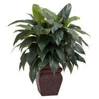 Nearly Natural Plastic/Iron Wire Cordyline Silk Plant with Decorative Vase