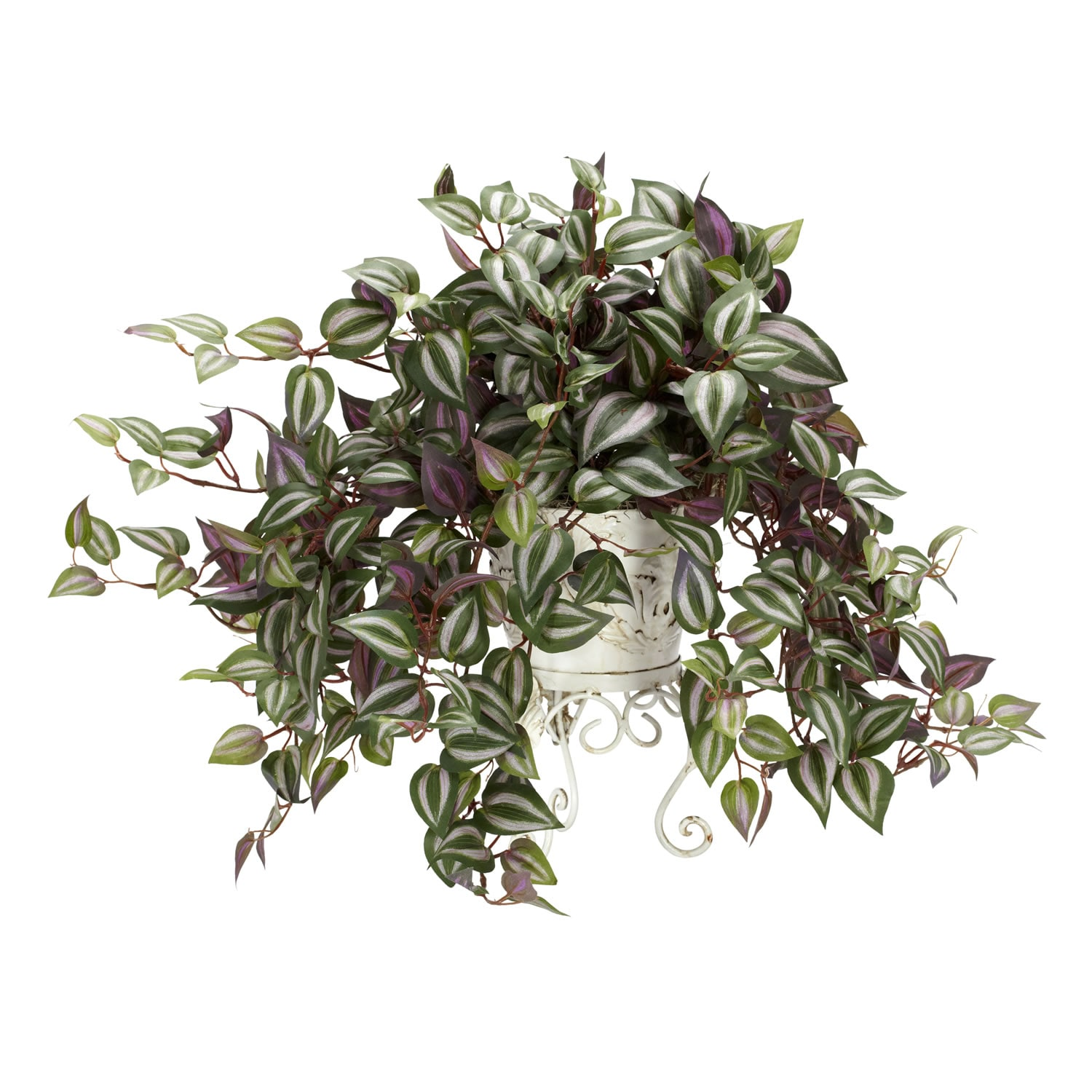 Nearly Natural Wandering Jew Silk Plant with Metal Plante...
