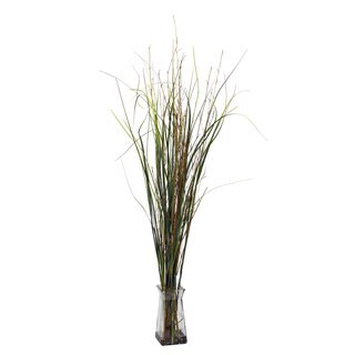 Grass and Bamboo with Glass Vase Silk Plant