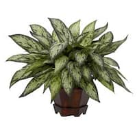 Triple Silver Queen Hexagon Vase Silk Plant
