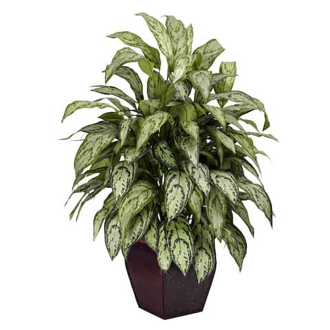 Silver Queen Decorative Planter Silk Plant