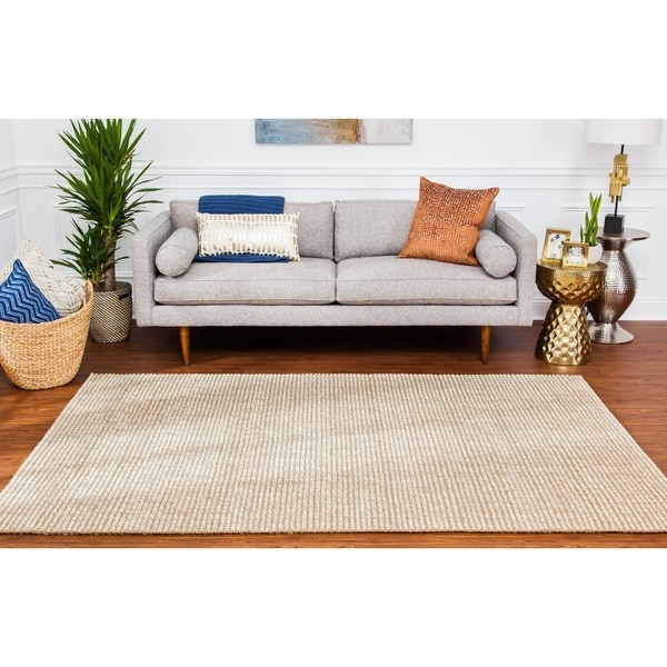 Jani Lhasa Natural Tan and Beige Wool and Jute Rug (9' x 12') - 9' x 12'