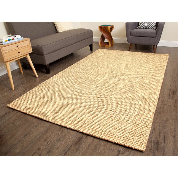Jani Lhasa Natural Tan and Beige Wool and Jute Rug (8' x 10')