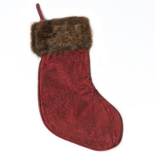 Selections by Chaumont Christmas Burgundy Stocking with Mink Fur Cuff