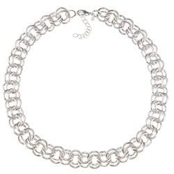 Roman Silvertone Double Link Fashion Necklace