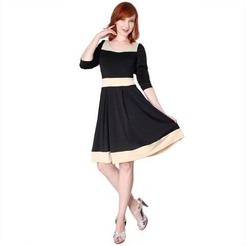 Evanese Women's Two-tone Long-sleeve Dress