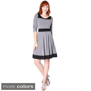 Evanese Women's Two-tone Long-sleeve Dress|https://ak1.ostkcdn.com/images/products/6275346/P13910375.jpg?impolicy=medium