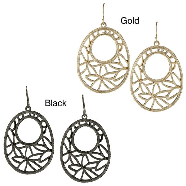 Kate Bissett Black-plated or Goldtone Filigree Floral Earrings